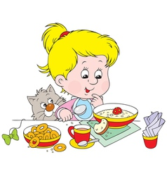 girl at breakfast vector image