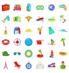 Globe travel icons set cartoon style vector