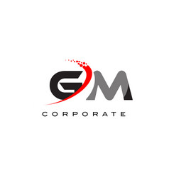 gm modern letter logo design with swoosh vector image