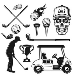 golf attributes and equipment objects vector image