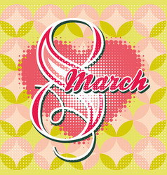Greeting card with 8 march womens day 5 vector
