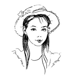 hand drawn sketch of lady in hat vector image