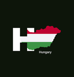 hungary initial letter country with map and flag vector image