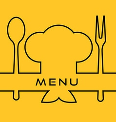 Icon of Chef Cook cap with fork spoon and vector