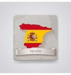Icon of Spain map with flag vector image