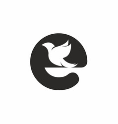 initial letter e with bird shape inside logo vector image