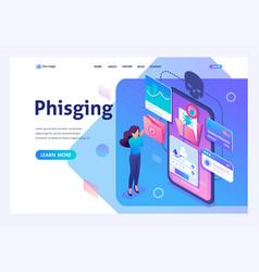Isometric concept phishing link theft data vector
