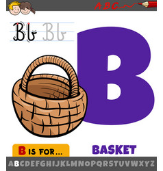 Letter b from alphabet with cartoon basket object vector