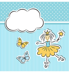 Little princess with paper cloud and butterflies vector image