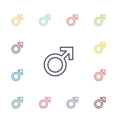 Male symbol flat icons set vector