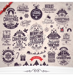 Merry Christmas Holiday typographic design set vector image