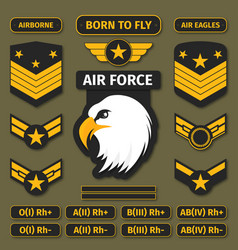 military badges and army patches chevrons vector image