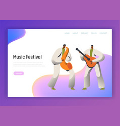 Music festival saxophone man character web page vector