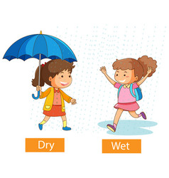 Opposite adjectives words with dry and wet vector