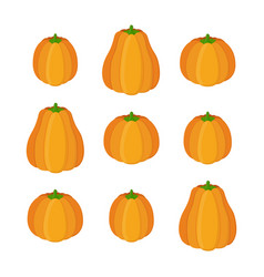 orange pumpkin set halloween vegetable vector image