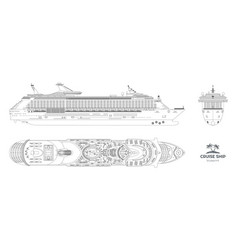 Outline blueprint cruise ship vector