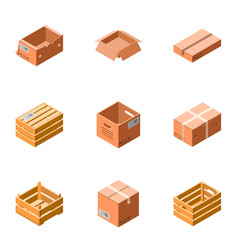 package box icon set isometric style vector image