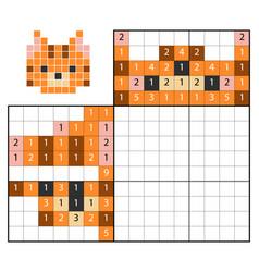 Paint number puzzle nonogram cat vector
