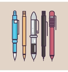 Pen ballpoint pencil set outline thin vector