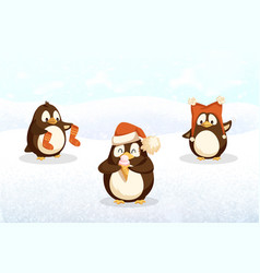 penguins hipster animals with santa stockings hat vector image