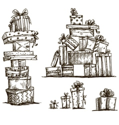 piles presents doodle heaps gift boxes vector image