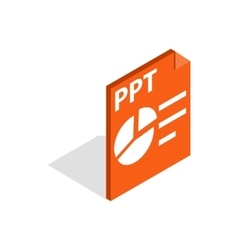 PPT file extension icon isometric 3d style vector