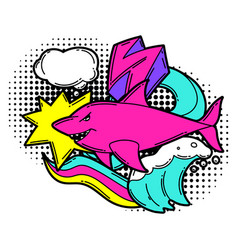 Print with cartoon shark urban colorful teenage vector