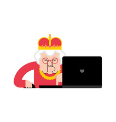 queen laptop working crown and notebook vector image