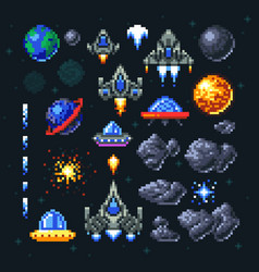 Retro space arcade game pixel elements invaders vector