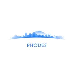 rhodes skyline silhouette design vector image