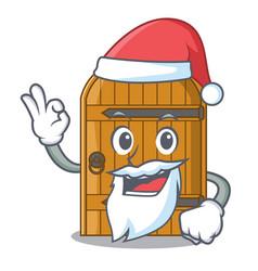 santa vintage wooden door on mascot cartoon vector image
