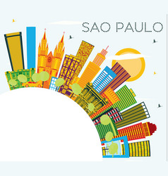 sao paulo brazil city skyline with color vector image