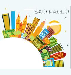 Sao paulo brazil city skyline with color vector