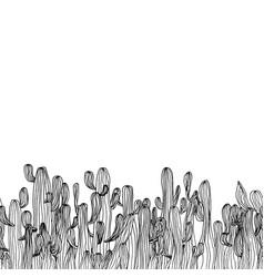 seamless cactus border from saguaro cactus sketch vector image