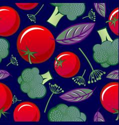Seamless pattern tomato basil broccoli dill herbs vector