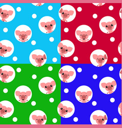 seamless pattern with kawaii pig chinese symbol vector image