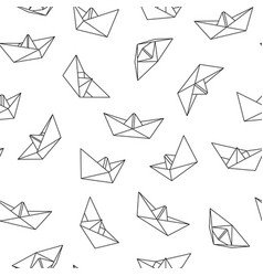 seamless pattern with origami boat vector image