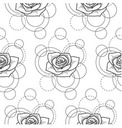 Seamless pattern with rose and circles on white vector