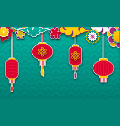 set chinese lanterns for happy new year lamps and vector image