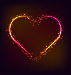 shiny glowing heart shape on dark red background vector image
