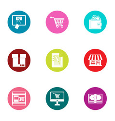 shop business icons set flat style vector image
