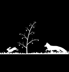 silhouette of fox and hare in the grass vector image
