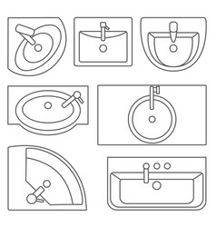 Sinks top view contour vector