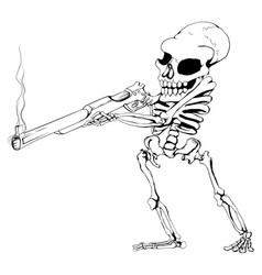 Skeleton gunman vector