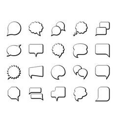 Speech bubble simple black line icons set vector