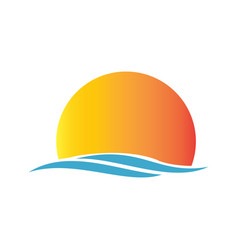 Sunrise beach logo vector