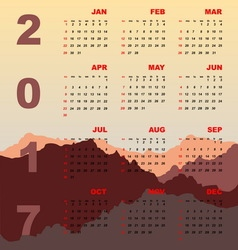 Sunset mountain view of 2017 calendar vector