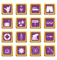 surfing icons set purple vector image