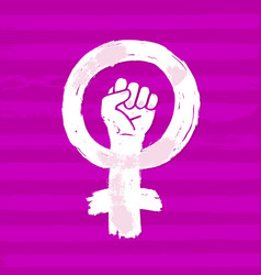 Symbol feminism movement woman hand with her vector