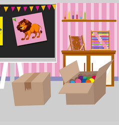 Two cardboard boxes in classroom vector